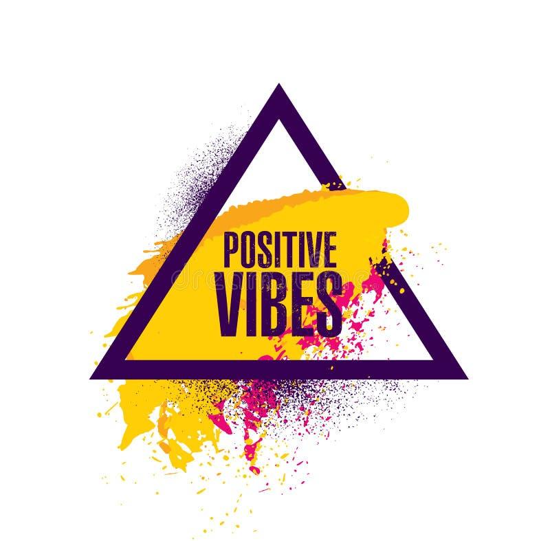 Sensación positiva Plantilla creativa inspiradora del cartel de la cita de la motivación Diseño de la bandera de la tipografía de stock de ilustración