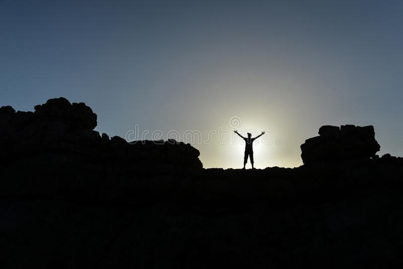 Challenging mountains, successful and determined people royalty free stock photos