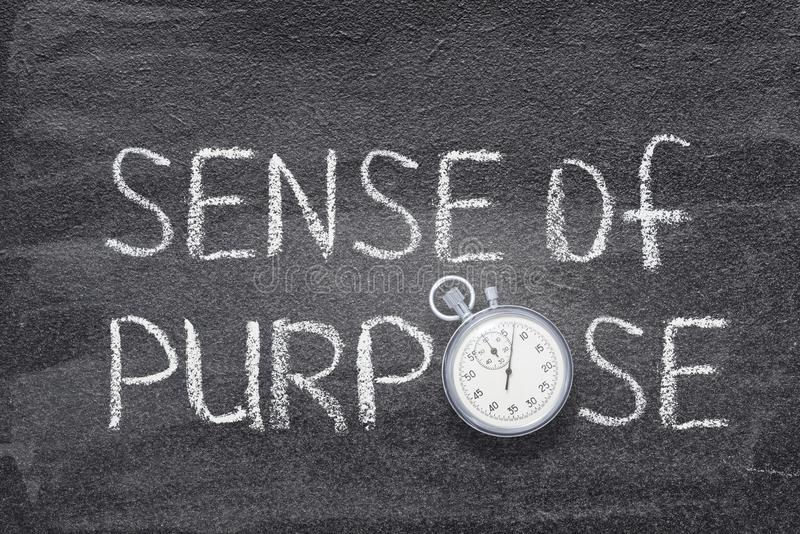 Sense of purpose watch. Sense of purpose phrase handwritten on chalkboard with vintage precise stopwatch used instead of O royalty free stock photo