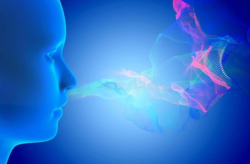Sense of smell. 3d rendering illustration - smell concept royalty free illustration