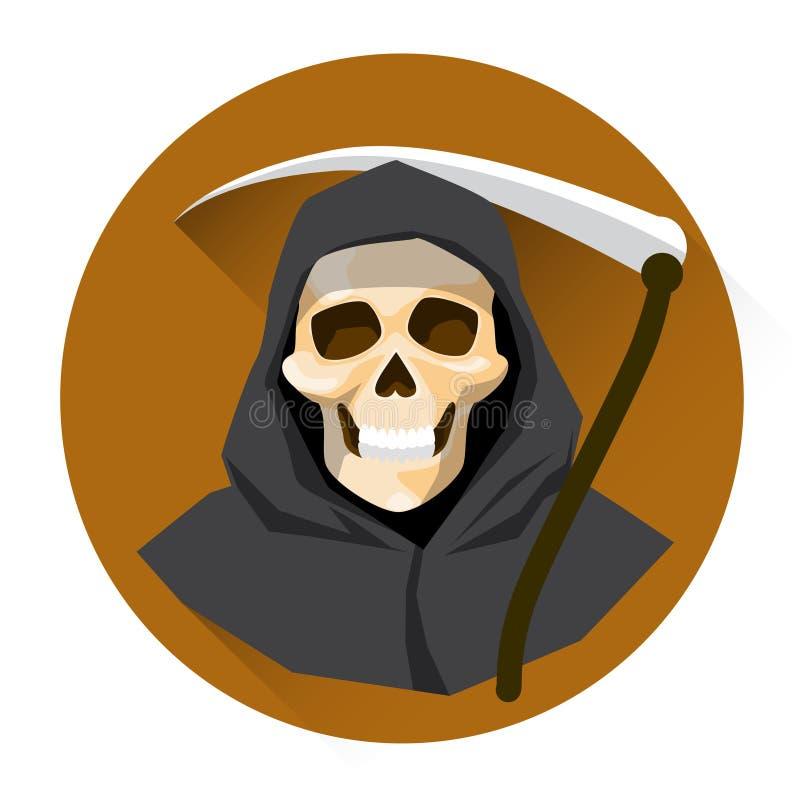 Sensenmann-Skeleton Griff-Sensen-Halloween-Feiertags-Ikone stock abbildung