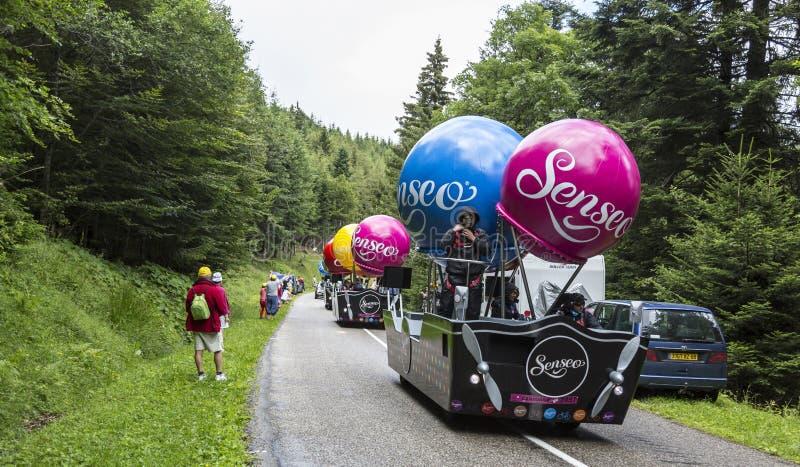 Banette Caravan On A Cobblestone Road- Tour De France 2015