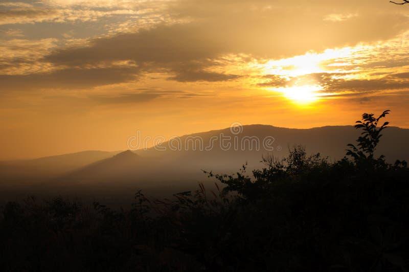 Senset на холме Kep Tawan стоковая фотография rf