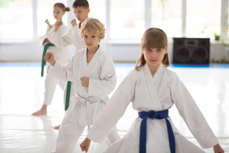 Sensibilità dei bambini in questione in arti marziali di pratica fotografia stock libera da diritti