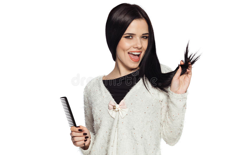 Sensibilità di modello splendida felice circa capelli sani fotografie stock libere da diritti