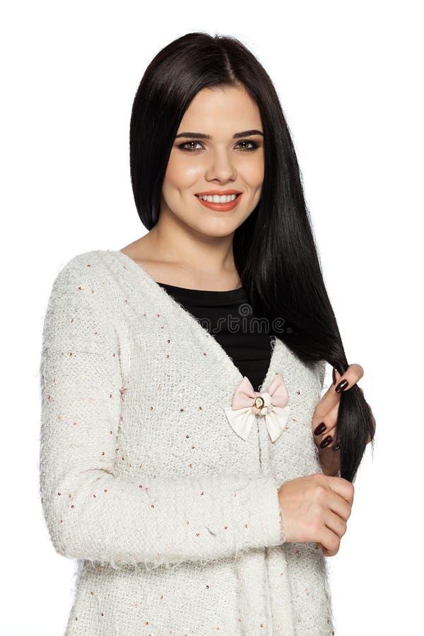 Sensibilità di modello splendida felice circa capelli sani fotografie stock