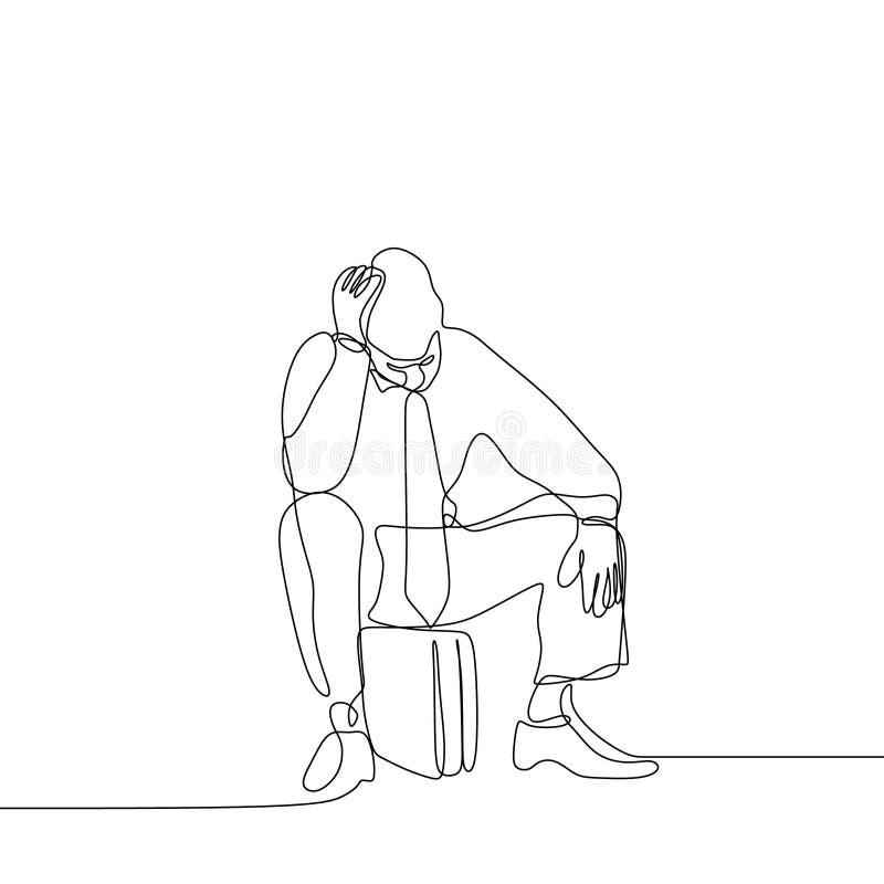 Sensibilità senza lavoro dell'uomo triste e depressa Linea continua illustrazione del disegno di arte illustrazione vettoriale