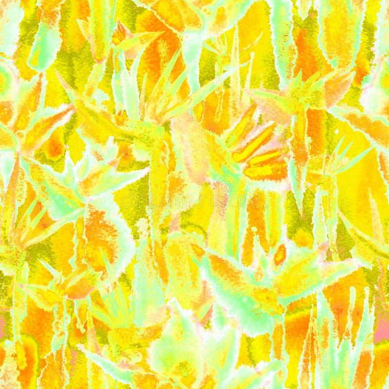 Sensible en pastel de jungle de mod?le d'impression d'aquarelle de lien de colorant de fleur sans fin sans couture tropicale de r illustration stock