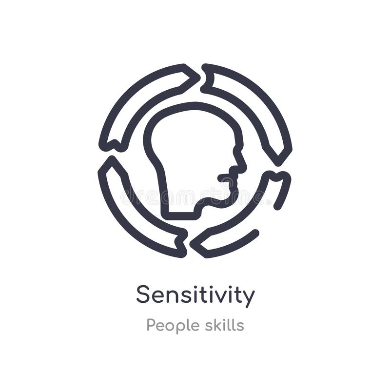 sensitivity outline icon. isolated line vector illustration from people skills collection. editable thin stroke sensitivity icon royalty free illustration