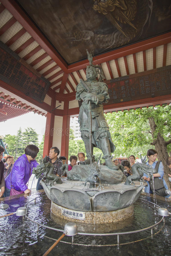 Senso籍寺庙在浅草,东京,日本 词意味Kob 库存图片