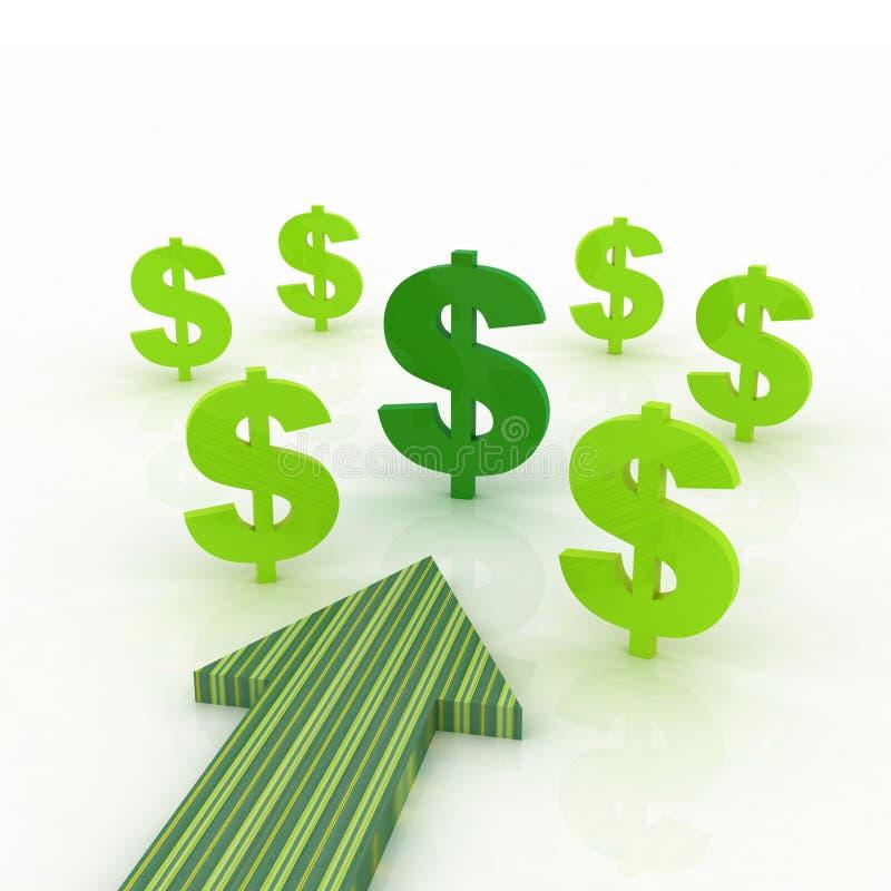 Senso della freccia con i segni dei dollari illustrazione vettoriale
