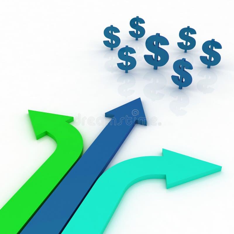 Senso della freccia con i segni dei dollari illustrazione di stock