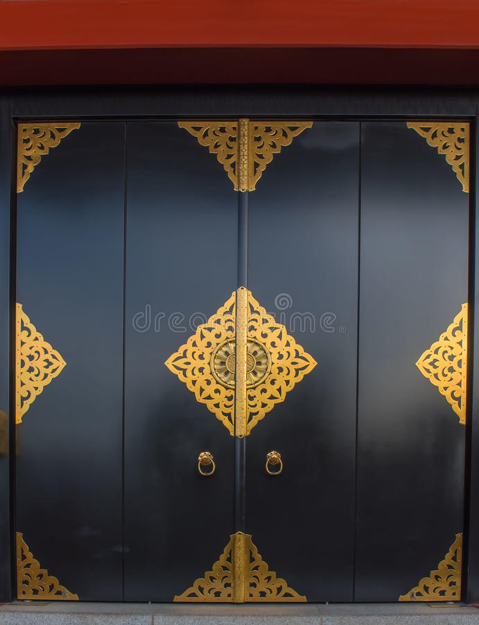 Senso-Ji temple door gold pattern, Japanese ancient , asakusa, tokyo, Japan stock photo