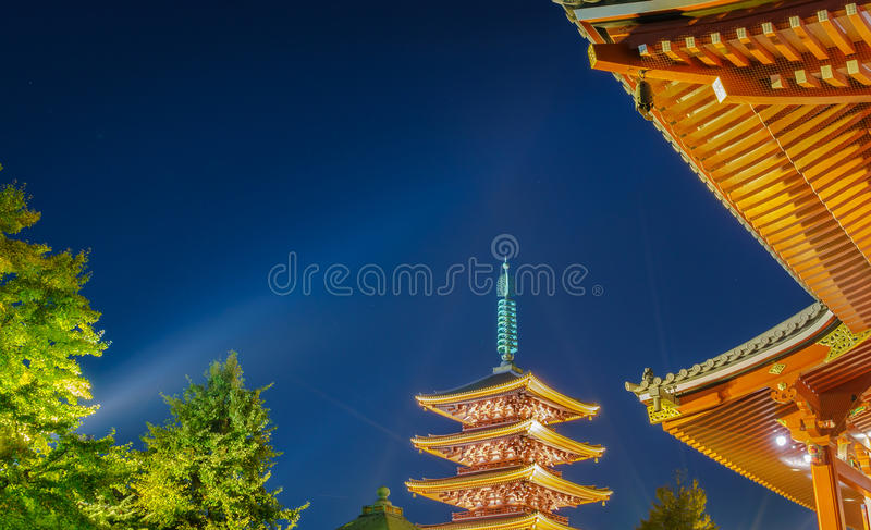 Sensoji-ji tempel i Asakusa arkivbilder