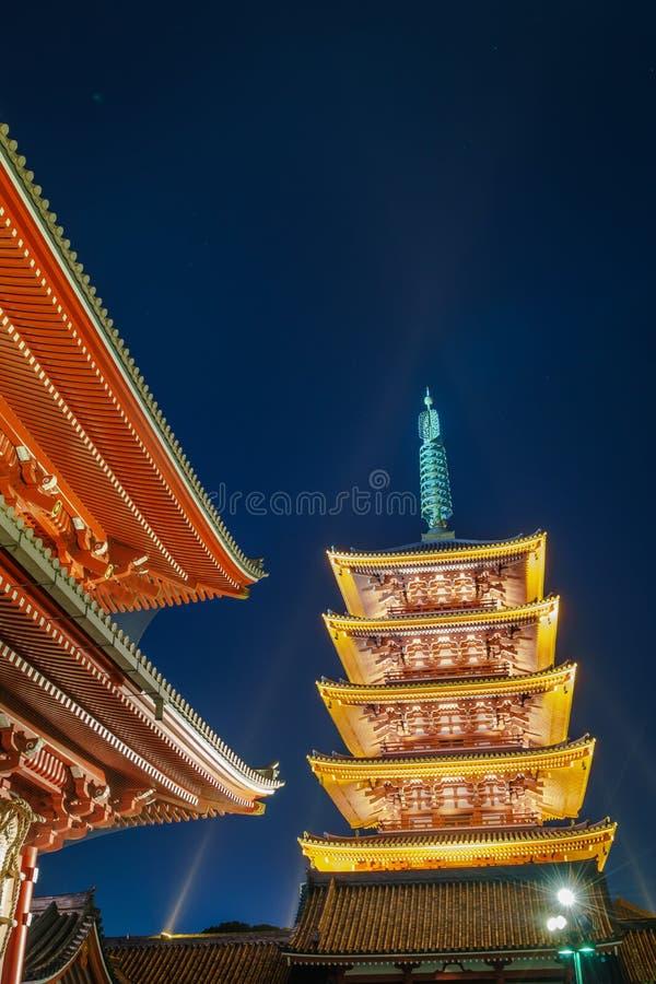 'Sensoji-ji tempel i Asakusa Japan arkivfoto