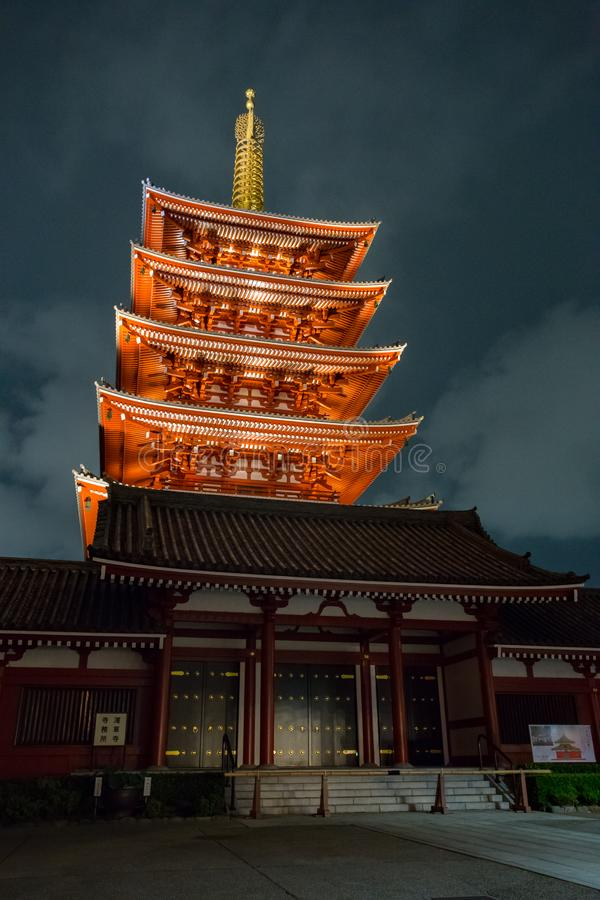 Sensoji Tokyo Japan at Night. Sensoji also known as Asakusa Kannon Temple at night.  It is the oldest Tokyo Buddhist temple and is located in Asakusa, Tokyo royalty free stock photos