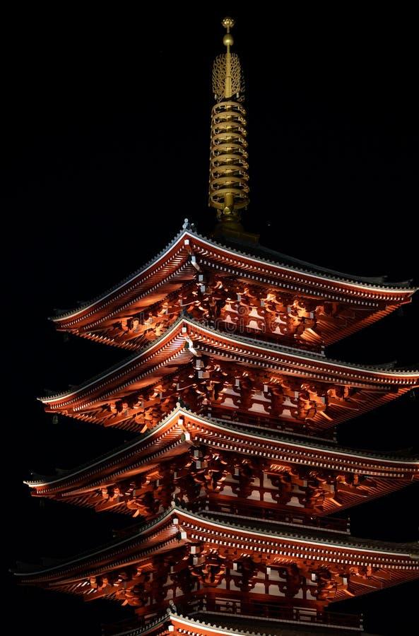 Sensojitempel bij nacht in Asakusa Tokyo, Japan royalty-vrije stock fotografie