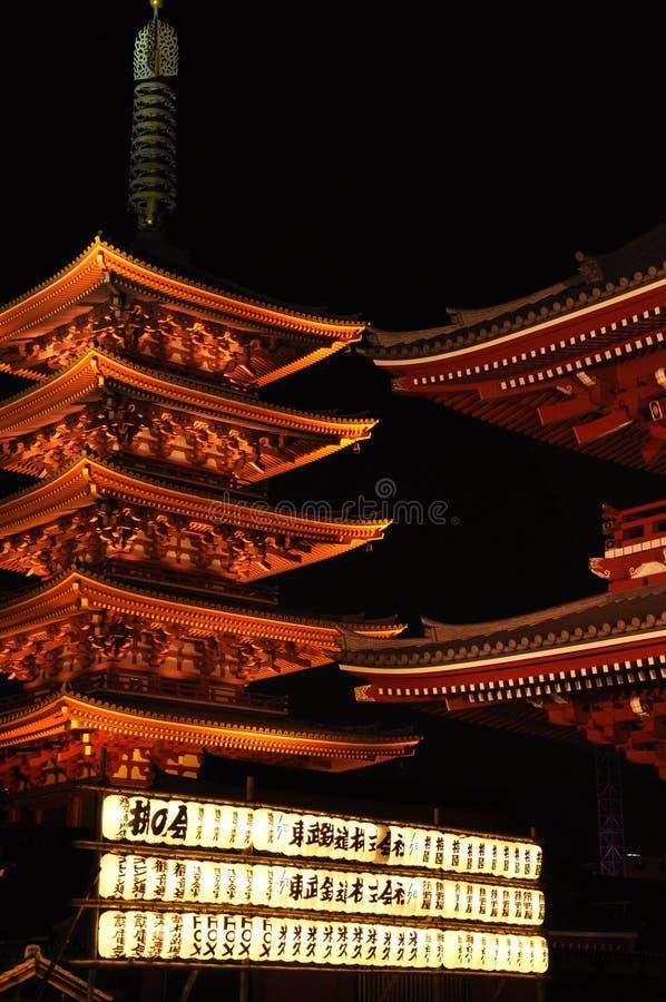 Sensojitempel 's nachts, Tokyo, Japan royalty-vrije stock foto