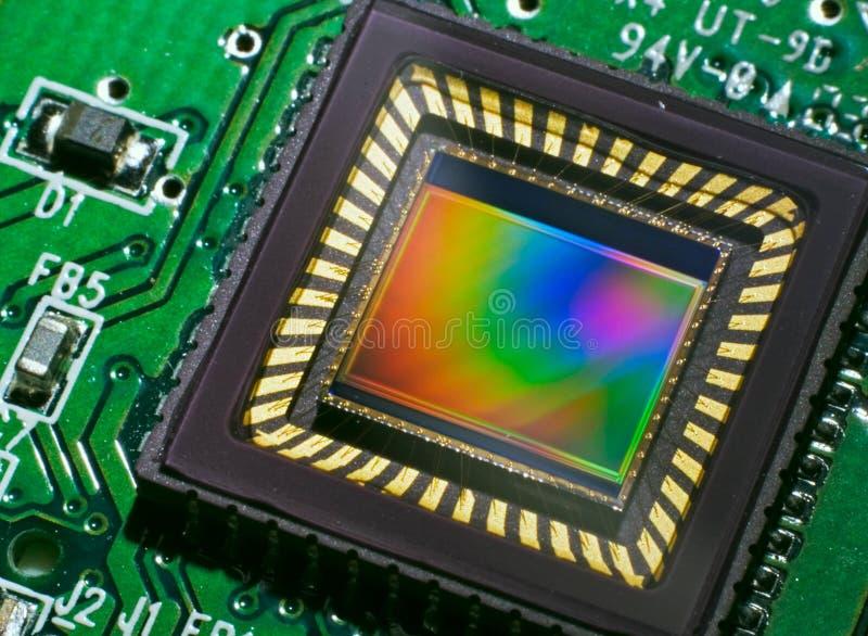 Sensor CCD op een kaart stock afbeeldingen