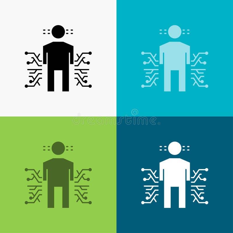 Sensor, cuerpo, datos, humanos, icono de la ciencia sobre diverso fondo dise?o del estilo del glyph, dise?ado para el web y el ap ilustración del vector