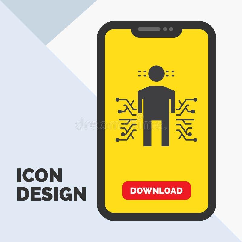 Sensor, cuerpo, datos, humanos, icono del Glyph de la ciencia en el móvil para la página de la transferencia directa Fondo amaril ilustración del vector