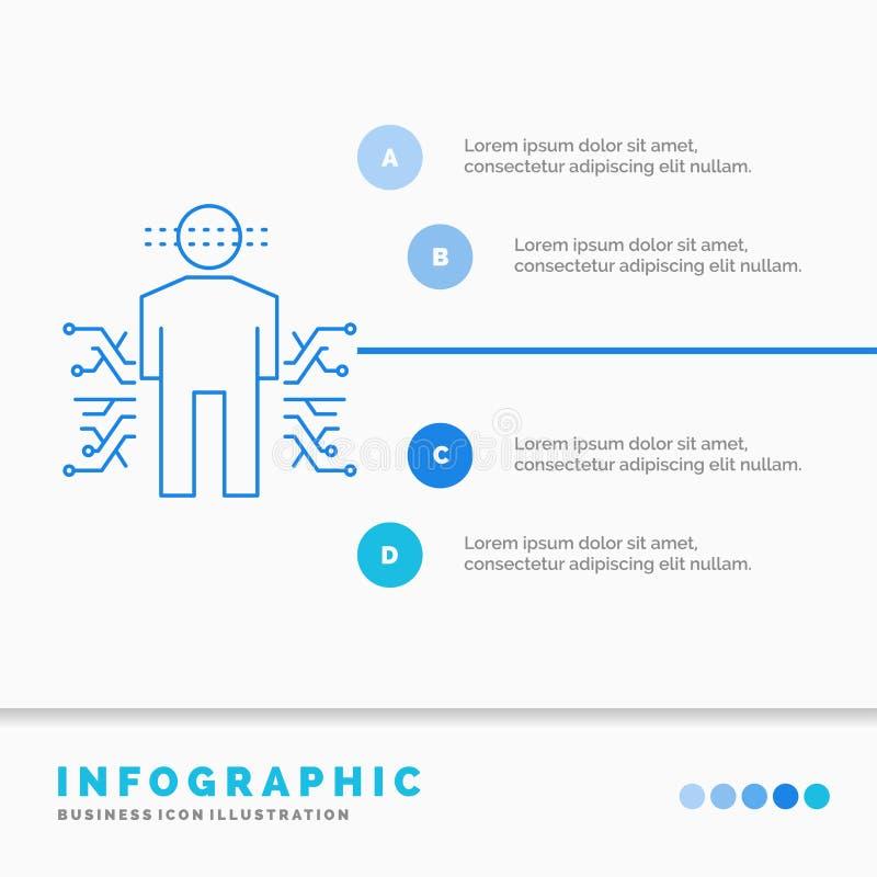 Sensor, lichaam, Gegevens, Mens, het Malplaatje van Wetenschapsinfographics voor Website en Presentatie Infographic de stijlvecto stock illustratie