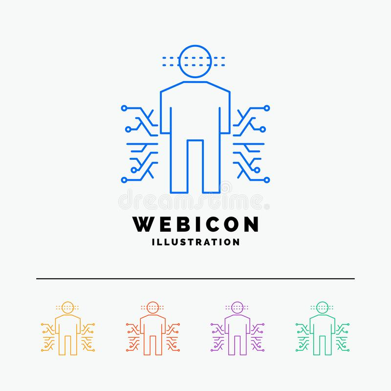 Sensor, lichaam, Gegevens, Mens, Wetenschap 5 het Pictogrammalplaatje van het Rassenbarrièreweb op wit wordt geïsoleerd dat Vecto royalty-vrije illustratie