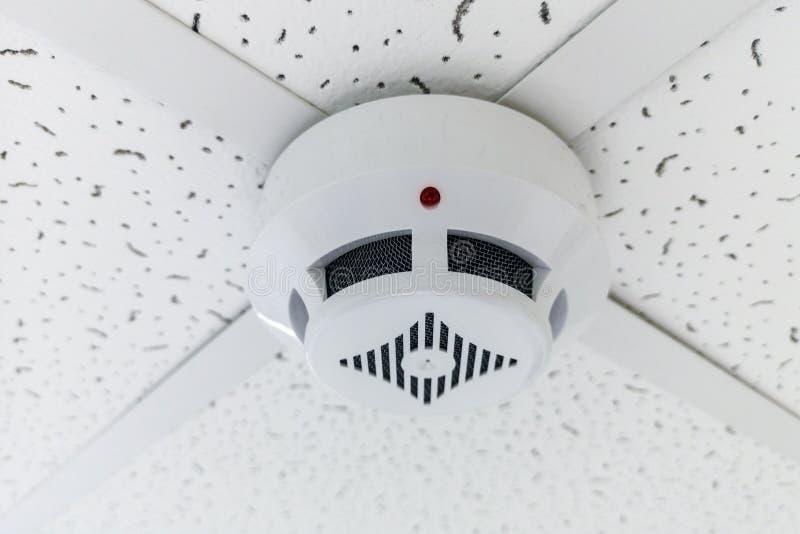 Sensor moderno del humo que cuelga en techo Pared de la circular del indicador de la temperatura La pared del sensor del humo en  imagen de archivo libre de regalías