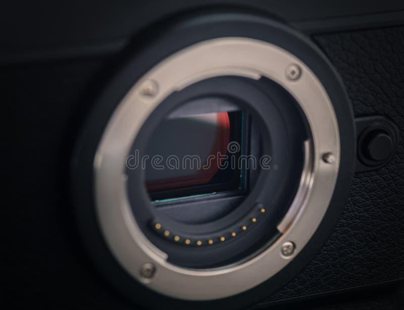 Sensor van een mirrorless camera royalty-vrije stock foto's