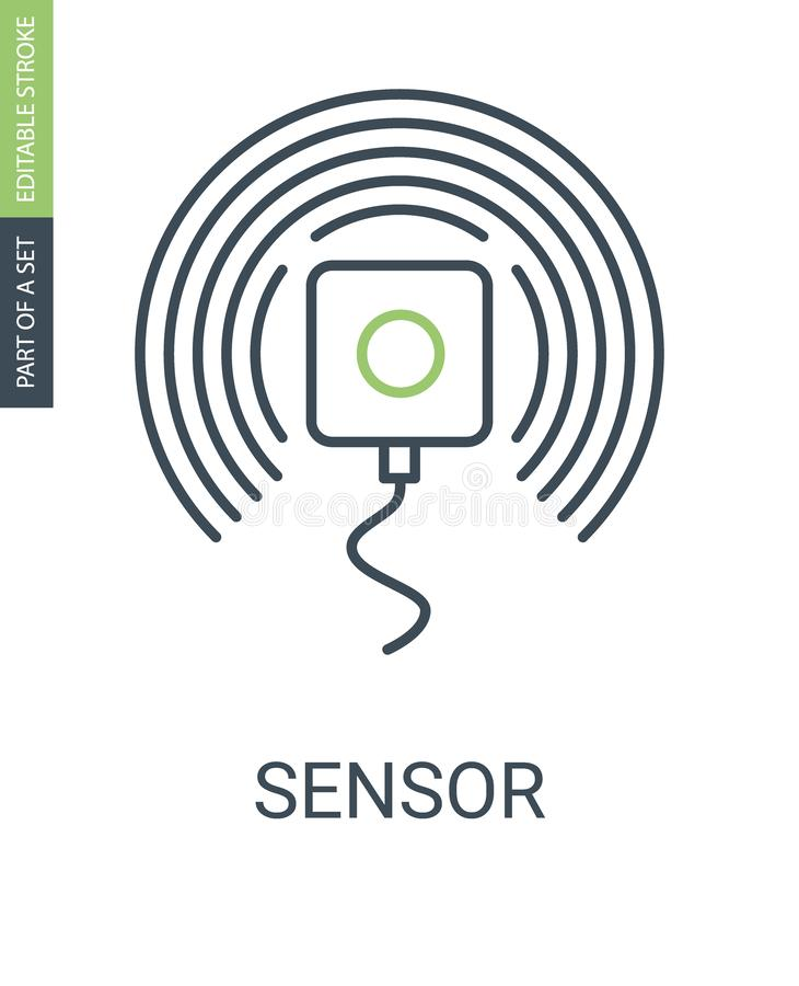 Sensor Vector Outline Icon with Editable Stroke. Sensor Vector Icon with Editable Stroke and Linear Style royalty free illustration