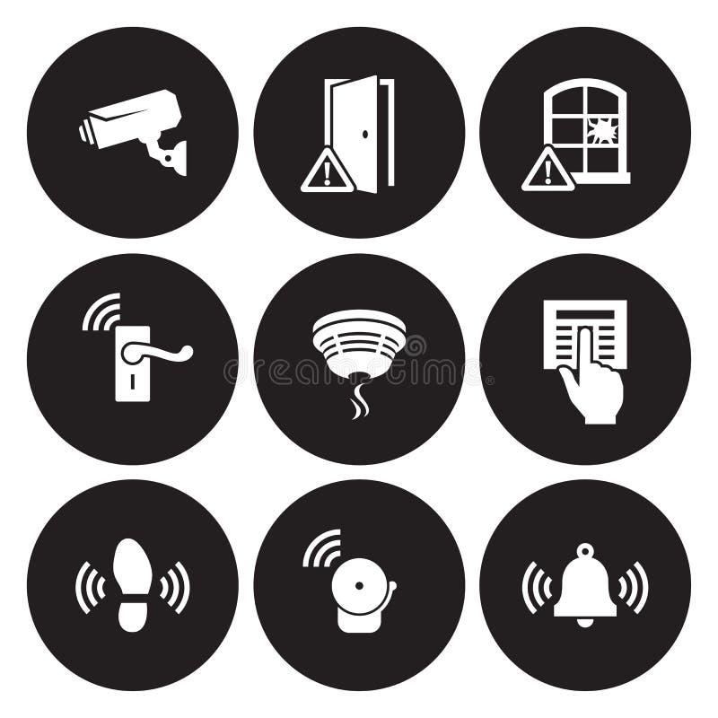 Sensores da segurança interna e ícones do equipamento ajustados foto de stock royalty free