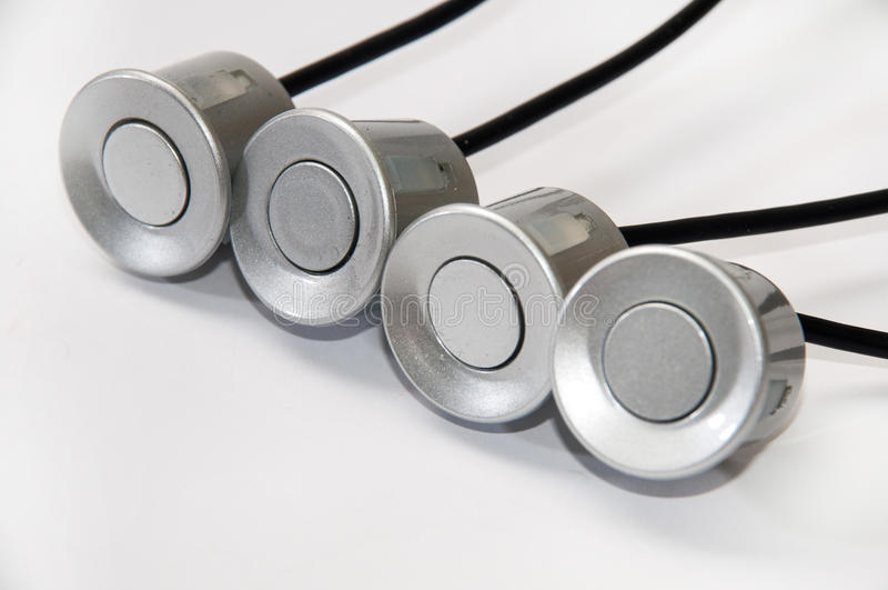 Sensores del estacionamiento en color gris foto de archivo libre de regalías