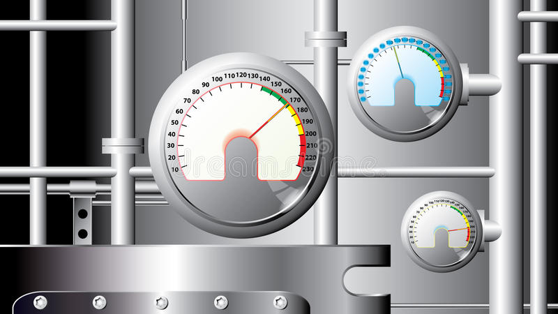 Sensores e tubulações de medição - industriais - vetor ilustração stock