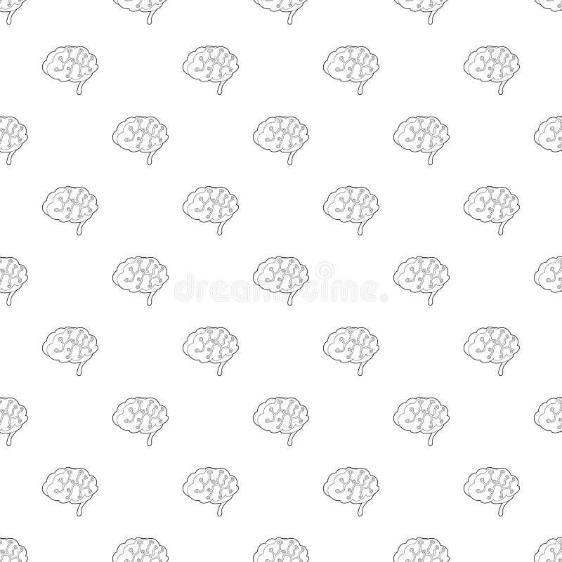 Sensores no ícone do cérebro humano, estilo do esboço ilustração stock