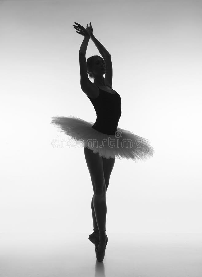 Sensual ballerina in the shade stock photos