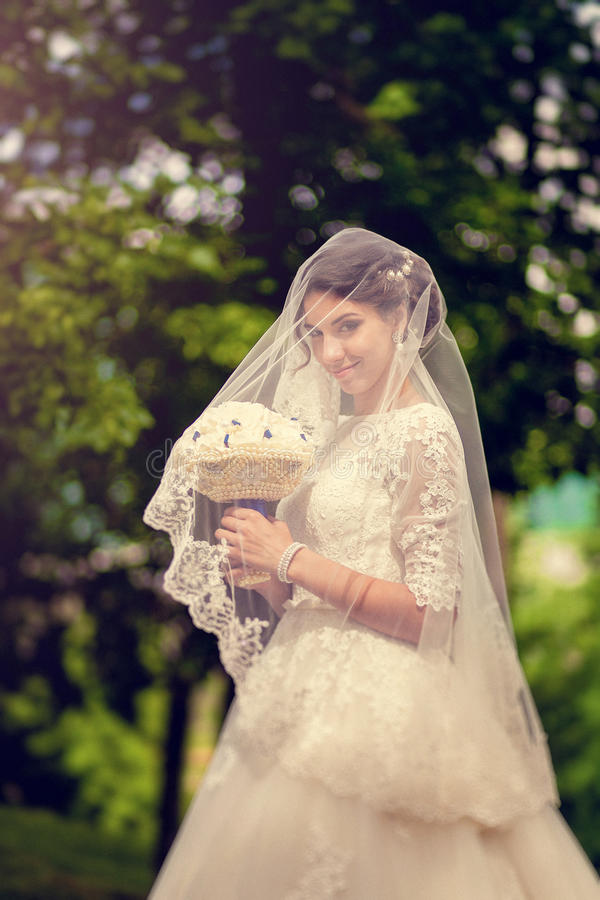 Sensual beautiful brunette bride slyly smiling and hiding under her veil outdoors stock photography