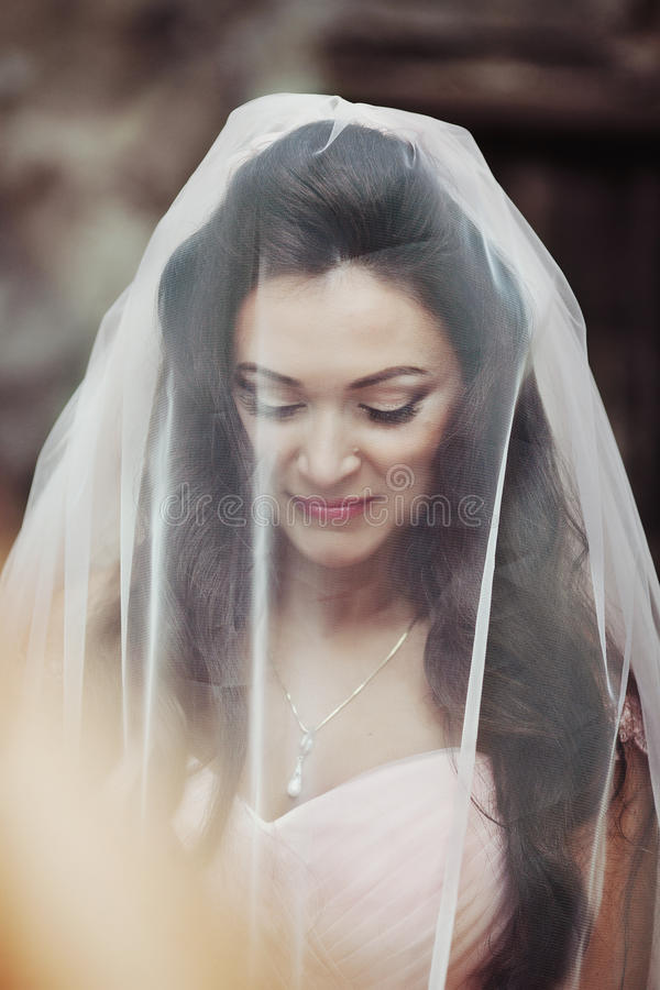 Sensual beautiful brunette bride smiling and hiding under her veil outdoors stock photos