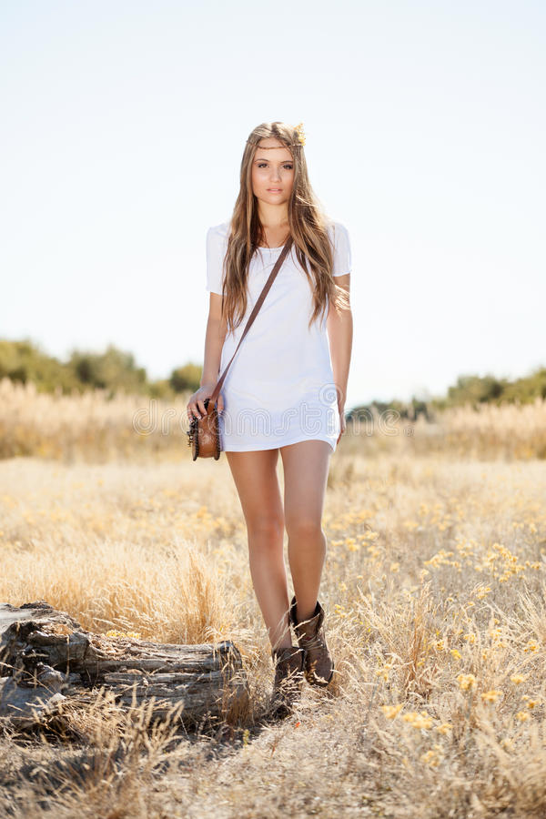 Sensual Blond Girl In Field Royalty Free Stock Photography
