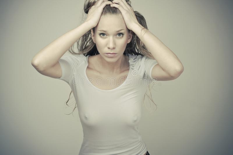 Download Sensual Blond Girl In Wet T-shirt Royalty Free Stock Photography - Image: 19095217