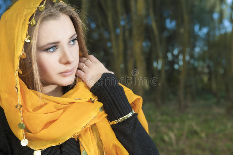 Sensual Blond Woman Outdoors Royalty Free Stock Image