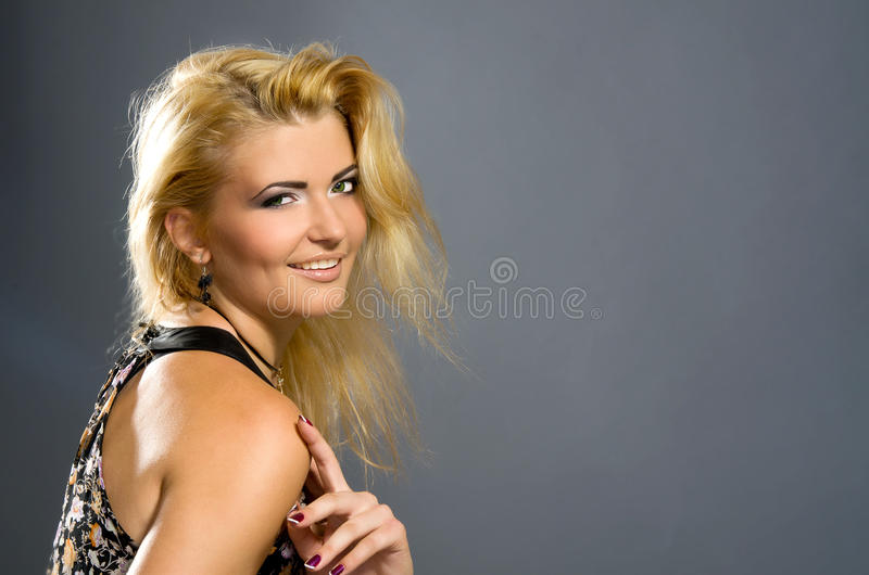 Sensual blonde with Professional makeup stock image