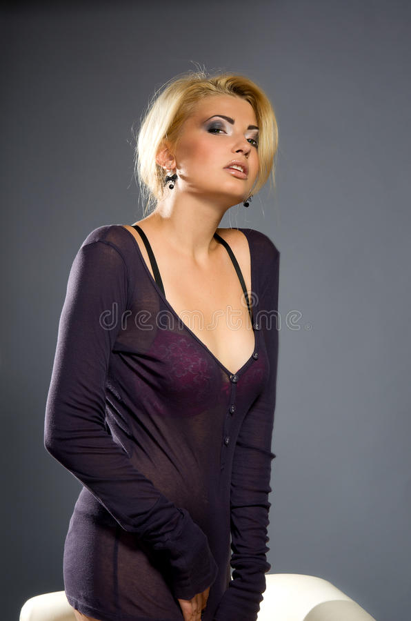 Sensual blonde with Professional makeup stock photography