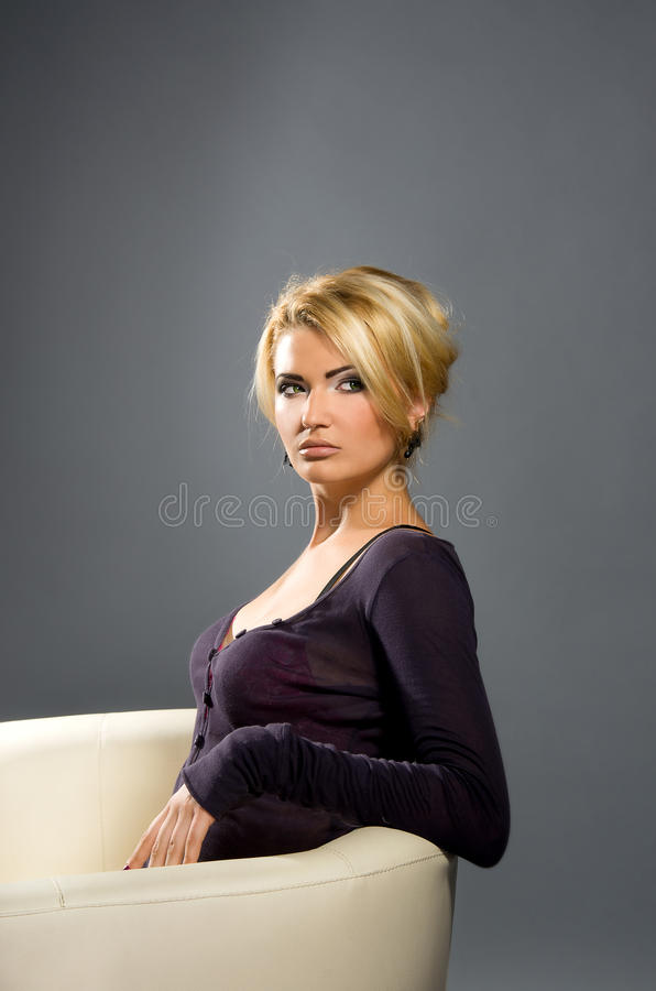 Sensual blonde with Professional makeup royalty free stock image