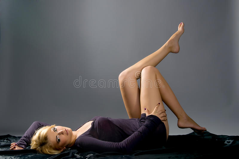 Sensual blonde with Professional makeup royalty free stock photography