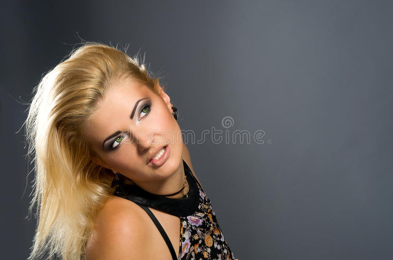 Sensual blonde with Professional makeup stock photo