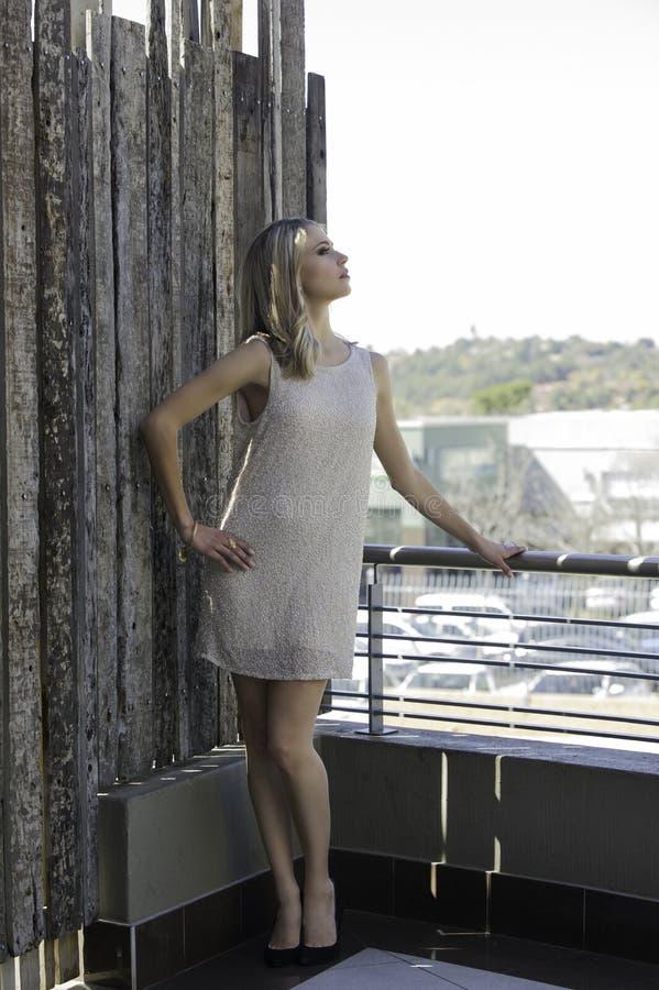 Free Sensual Blonde Woman Posing On Urban Balcony Stock Photography - 40883822