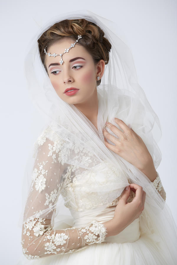 Sensual Bride In White Wedding Dress Stock Photography