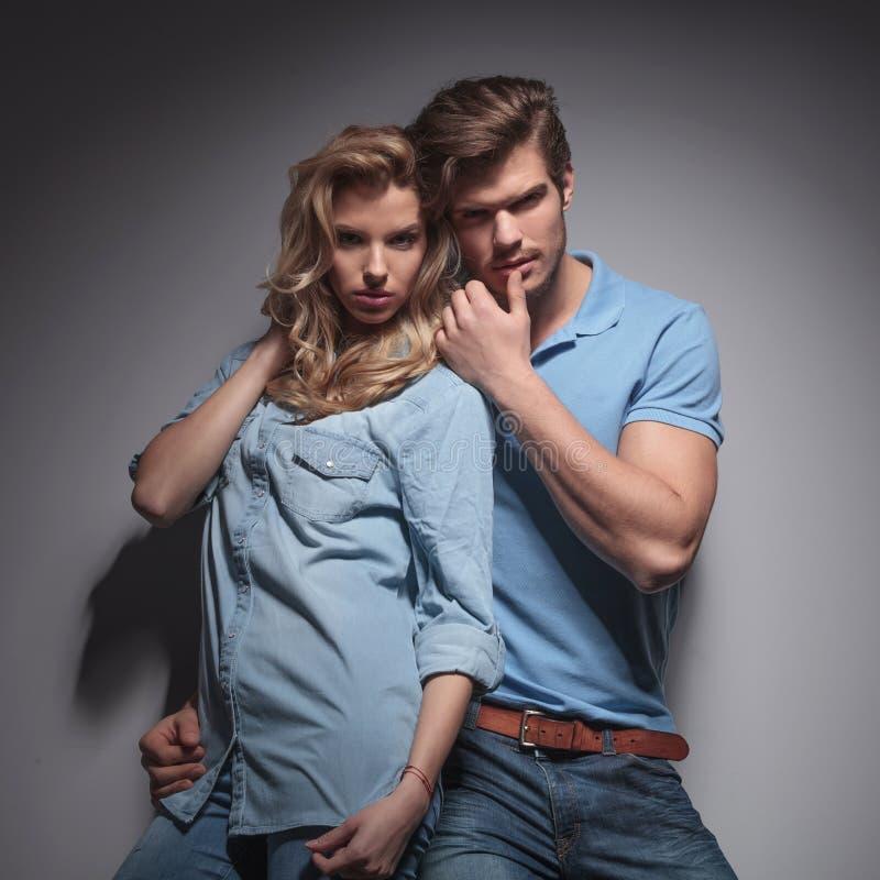 Sensual casual couple in a provocative pose