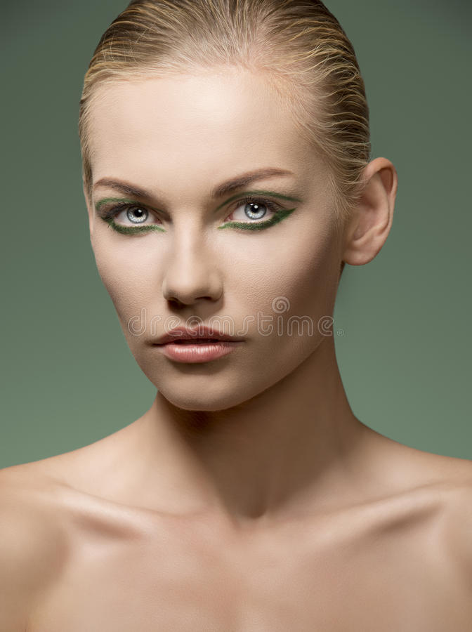Sensual caucasian girl with make-up stock photography