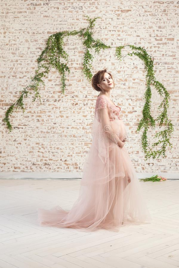 Sensual cheerful beautiful pregnant young woman in pink dress standing and holding with love her belly royalty free stock images